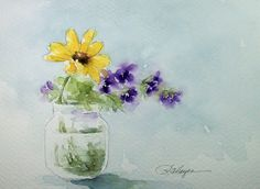 Watercolor Flowers | wanted to compare results on Yupo paper vs regular watercolor paper ...