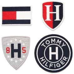 Tommy Hilfiger Iron-On Patches - Blue Tommy Hilfiger Outfit, Tommy Hilfiger Shirts, Tommy Shirt, Work Badge, Marken Logo, Camisa Polo, Iron On Patches, Embroidery Applique, Printed Shirts