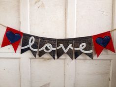 LOVE Burlap banner, nautical or 4th of july banner - love - engagement prop - 4th of July wedding - Handmade Banner - nautical theme on Etsy, $16.99