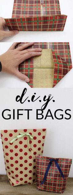 DIY Gift Bags for Christmas. #giftwrapping