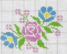 Rosas bordadas no ponto cruz