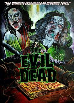"""""""Can They Be Stopped?"""" The Evil Dead fan poster is a hard read Best Horror Movies, Classic Horror Movies, Horror Films, Scary Movies, Old Movies, Evil Dead Trilogy, Evil Dead Series, Fan Poster, Movie Poster Art"""