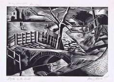 Nash, Paul (1889-1946), 'Dyke by the Road', Wood Engraving, 1922.