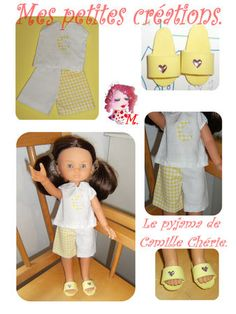 pdf (instructions on website) Doll Shoe Patterns, Clothing Patterns, Cherie Coco, Chelsea Doll, Nancy Doll, Pajama Pattern, Barbie, Wellie Wishers, Crochet Doll Clothes
