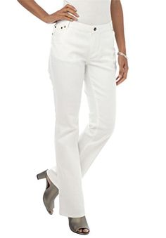 Jessica London Women's Plus Size Tall True Fit Bootcut Jeans - White Denim, 12 T Gauze Clothing, Flax Clothing, Plus Size Work, Addition Elle, Ladies Of London, Jeans Brands, White Denim, Classic Looks, Plus Size Outfits