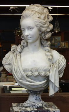 Marble bust rising on a circular graduating plinth, Portrait of a Duchess, French School (19th century),