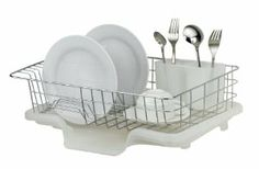 Sakura Compact Dish Rack Stainless Steel / Kitchenware Drying Rack / Dish Drainer with Removable Plastic Tray, Utensils Rack, Iron with Chrome Finished, Easy to Assemble, Silver, AE-922 by Sakura. $20.99. Accommodates up to 13 plates. Easy to Assemble. Extendable plastic drip tray.. Kitchen dish rack is compact for simple space-saving storage in a cabinet or under the sink.. Made of high quality iron,with chrome finish insures germ resistance process,sanitary,simple us...