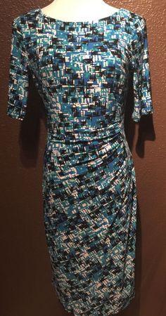 Anne Klein Scoop Neck Blue Black Green White Abstract Print Dress | eBay