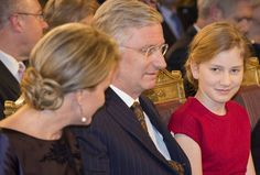 Belgium Royal Family at The annual Christmas Concert. King Philippe and Queen Mathilde of Belgium, Crown Princess Elisabeth. Dec 16, 2015.