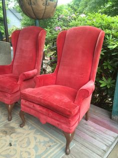 forgotten furniture pair of vintage red velvet high back queen anne arm chairs