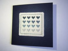 Handmade Blue Hearts Cross Stitch Card by HandmadeVCreations on Etsy