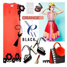 """Orange is the New Black"" by houseofhauteness ❤ liked on Polyvore featuring Les Petits Joueurs, Christopher Kane, Valentino, Topshop, pattern, geometric, blackandorange and oitnb"