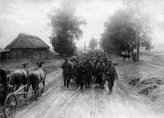 Some of the quarter-million Russian prisoners of war taken during the battle being marched to camps. Altogether, more than Russians will be killed, wounded, or captured during the month of May. Half of Mackensen's force will be consumed by July World War One, Old World, Austro Hungarian, Prisoners Of War, Historical Images, Eastern Europe, Wwi, Art And Architecture, Family History