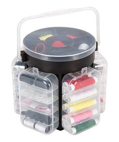 Another great find on #zulily! Black 210-Piece Sewing Kit Deluxe Caddy #zulilyfinds
