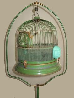 Antique Hendryx-like Bird Cage on Stand Green and by LoveNStuff14