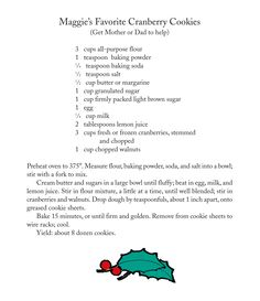 Maggie's Favorite Cranberry Cookies from Cranberry Christmas by Wende and Harry Devlin.
