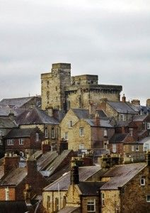 Hexham, Northumberland, UK named as England's favourite market town with it's Abbey, market square, the Medieval Goal the oldest purpose built one in the country and the 14th century Moot Hall