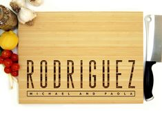Personalized Cutting Board Custom Cutting Board Family Name Custom Cutting Boards, Engraved Cutting Board, Personalized Cutting Board, Personalised Gifts Home, Personalized Wedding Gifts, Year Anniversary Gifts, Anniversary Ideas, Wedding Anniversary, Wedding Trends