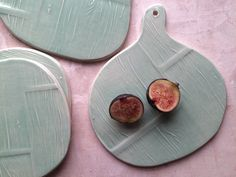 Ceramic Cheese/Charcuterie Board Set of Four by persimmonstreet Food Platters, Cheese Platters, Charcuterie And Cheese Board, Cheese Boards, Spoon Ornaments, Wood Grain Texture, Ceramic Studio, Plank Flooring, Serving Plates