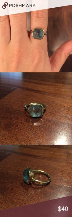 Gold Michael Kors ring with blue stone. Size 7. Fashion statement! Blue stoned Michael Kors ring in size 7. Gently worn. Some of the gold has rubbed off on the backside of ring (not that noticeable). KORS Michael Kors Jewelry Rings #GoldJewelleryMichaelKors