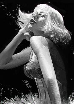 """Photoshop Dook"" - Mel Milton, 2015 {figurative art blonde female character illustration woman face profile portrait monochrome digital painting #loveart #Melmade #dookin}"