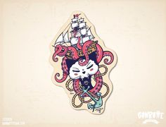Cat under the sea Black Cat Sticker octopus ship anchor Black Kitty Ganbatte Black Cats Big Sticker on etsy