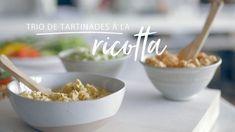 Trio de tartinades à la ricotta (cari, tomates séchées ou pesto) pour sandwich