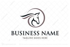 Logo for sale: Swoosh Horse Head Logo. Unique horse head logo with a bit dynamic effect (swoosh) for equestrian business or horse breeding farm. horsey pony training riding lesson racing equine ride breed logo logos
