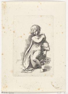 Hendrik van der Borcht (de Jonge) | Jongen met schaap, Hendrik van der Borcht (de Jonge), 1638 | Een half-naakte jongen omarmt een schaap. Hij kijkt naar links. Prent uit een serie naar diverse tekeningen van Parmigianino uit de collectie Arundel