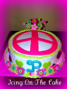 Peace Sign Birthday Cake by Icing On The Cake Lady, via Flickr