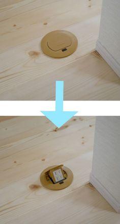 キッチンの対面側にフロアーコンセントを設けました。  フラット対面キッチンの場合、周囲に壁が無いのでコンセントの設置場所がいがいと困ります。 フロアーコンセントなら、どこにでも設置でき、使わない時は収納すれば床がフラットになるのでとても便利です。 #すっきり #床フラット #フロアーコンセント #キッチン #工藤工務店