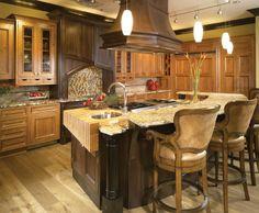 Kitchen | Da Vinci Marble beautiful wood, graite and island  for chile kitchen