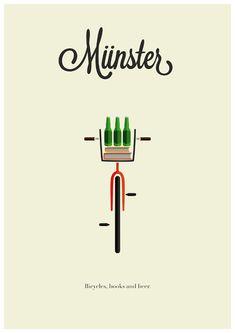 Münster: Bicycle, Books, and Beers- perfect. Bike Illustration, Graphic Design Illustration, Layout Inspiration, Graphic Design Inspiration, Beer Art, Lettering, Grafik Design, Belle Photo, Framed Art Prints