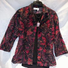 """Coldwater Creek Burnout Button Down Top Beautiful Coldwater Creek floral pattern in burnout fabric, so very sheer and light weight.  Great fall season colors of black, deep red,  and yellow.  Five black buttons at front. Three quarter sleeve,  proportioned to petite 5' 2""""  and under.  Very good condition, but wash instruction tag clipped out.  Worn just 3 or 4 times.  Does not include necklace or black cami.  Machine wash cold gentle cycle. Coldwater Creek Tops Blouses"""