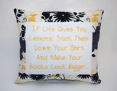 Funny Cross Stitch Pillow, Black and Yellow Pillow, If Life Gives You Lemons Quote on Etsy, $25.00