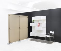 Smoke color contemporary partition, the Fluowall divider is ideal for any open space office restaurant hotel room and shops