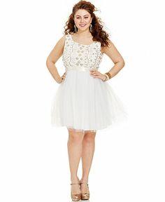 Trixxi Plus Size Sleeveless Sequin Tulle Dress - Junior Plus Sizes - Plus Sizes - Macy's