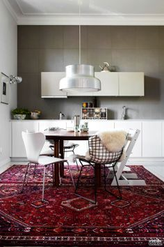 #white #kitchen..I like the contrast with wall!