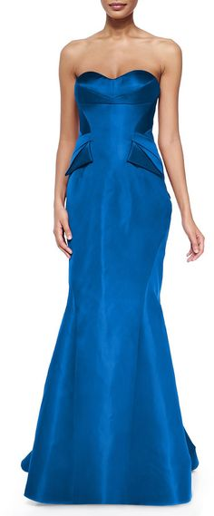 $4,990, Strapless Split Peplum Back Pleat Gown Cobalt by Zac Posen. Sold by Neiman Marcus. Click for more info: http://lookastic.com/women/shop_items/133581/redirect