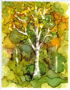 Print of Original Alcohol Ink Painting - Birch tree in forest 5x7 -Frame 8x10 with black mat-- Alcohol Inks- Trees- Fall colors