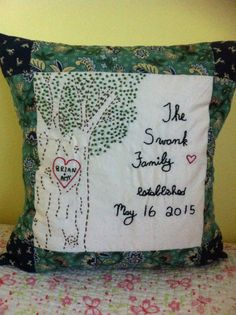 Items similar to Custom Hand Embroidered Wedding Pillow Case on Etsy Pillow Forms, Pillow Inserts, Big Pillows, Throw Pillows, Embroidered Pillows, Hand Embroidery, Embroidery Ideas, Custom Pillow Cases, Wedding Pillows