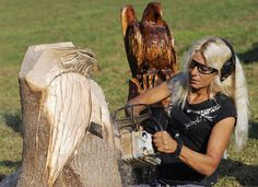 Lisa Webber has combined two of her passions into a business. The amateur artist who has worked more than 35 years in the forestry industry now spends her free time chainsawing tree trunks, logs and limbs into eagles, owls and bears.