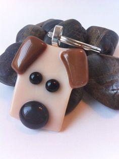 cute animal glass fusing | Dog Key Chain, Fused Glass