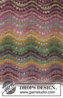 """Delightful Waves - Knitted DROPS shawl with wave pattern and stripes in """"Delight"""". - Free pattern by DROPS Design Drops Patterns, Shawl Patterns, Lace Patterns, Stitch Patterns, Crochet Patterns, Knitting Paterns, Lace Knitting, Knitting Stitches, Knitting Machine"""