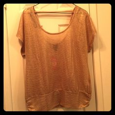 Bebe Gold shirt Bebe Gold Scoop shirt with sleeves. Dressy or casual. New with tags bebe Tops Blouses