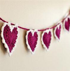valentine heart wool garland idea