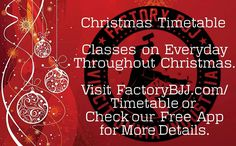 I've finalised the Christmas Timetable and updated the website and app. We have classes on every single day throughout Christmas! All clubs and belt levels welcome as always! #BJJ #BJJinManchester #FactoryBJJ