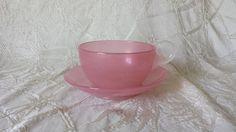 Steuben Stevens and Williams Pink British Art Glass Rosaline Teacup Saucer Set