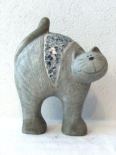 Katzenskulptur aus Keramik Deko Katze Katzenfigur 2 Muster | eBay