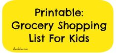 Printable Grocery Shopping List for Kids